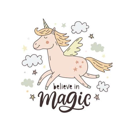 Unicorn magic hand drawn cute poster, greeting card illustration, T-shirt design.