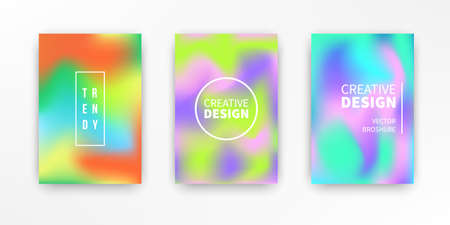 Holographic retro 80s, 90s vector futuristic covers set. Abstract poster, flyer templates. Mesh gradient shapes. Trendy minimal colorful branding design background. Ilustração