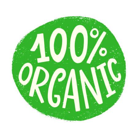 100 organic badge sign. Vector round eco green logo