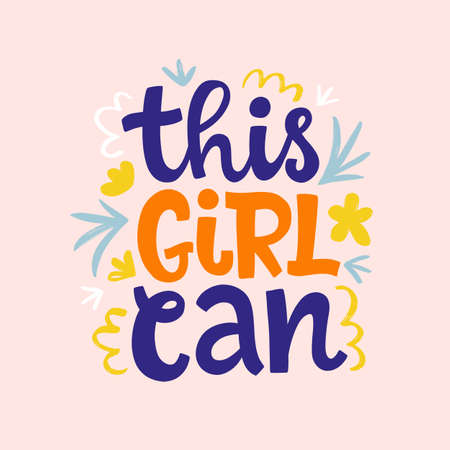This girl can hand lettering vector design. Feminism slogan. Woman motivational phrase inscription for t-shirt, poster, phone case, banner, sticker, postcard and wall art.
