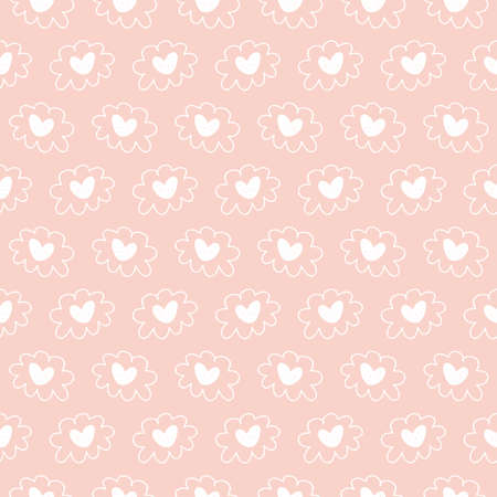Vector hand drawn hearts seamless pattern. Abstract repeated doodle sketch background. Valentines day, wedding design. Girlish romantic textile, clothes, wrapping paper, invitation card. Ilustração