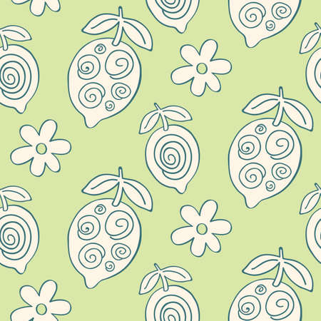 Tropical Leaves seamless pattern, modern hand drawn lemons. Summer textile print, clothes, wallpaper, wrapping paper. Trendy surface design. Foto de archivo - 123237544