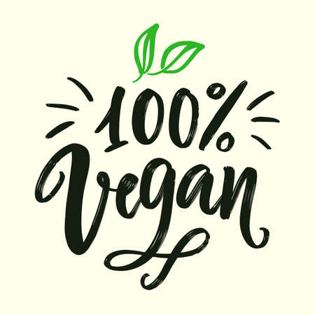 100 percent vegan sign. Vector round eco, organic green logo Banque d'images - 124855661