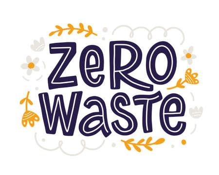 Zero Waste slogan hand drawn lettering inscription 向量圖像
