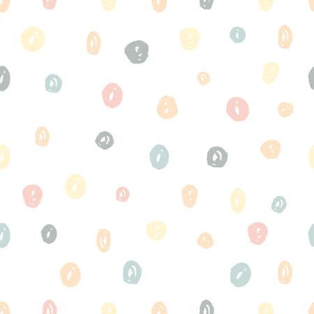 Hand painted brush dots seamless pattern texture in pastel colors. Abstract vector creative repeating background. Modern trendy design. Vettoriali