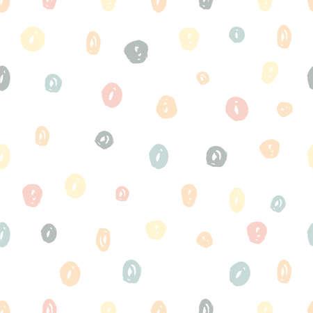 Pintado a mano pincel puntos textura de patrones sin fisuras en colores pastel. Fondo de repetición creativo vector abstracto. Diseño moderno de moda.