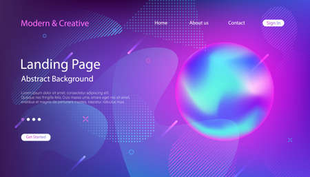 Website Landing Page Template. Modern Universe Outer Space Abstract Background. Design for Presentation, Flyers. Vector futuristic illustration. Ilustrace