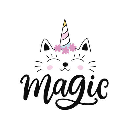 Caticorn. Vector cute cat unicorn cartoon character. Magic hand drawn kitty for t shirt print, kids birthday party, sticker, baby shower, nursery poster, greeting card illustration. Çizim