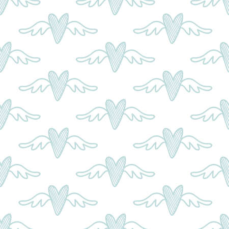 Vector hand drawn hearts seamless pattern. Abstract repeated doodle sketch background. Valentines day, wedding design. Girlish romantic textile, clothes, wrapping paper, invitation card. 向量圖像