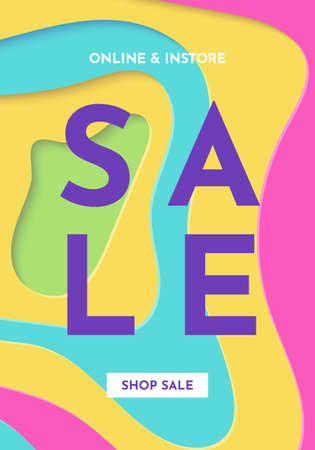 Sale banner fashion bright colorful creative template. Paper cut art. Social media trendy abstract vector design with cartoon abstract waves. Background for flyers, presentations and posters.