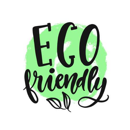 Eco friendly sign. Vector round vegan, organic green logo