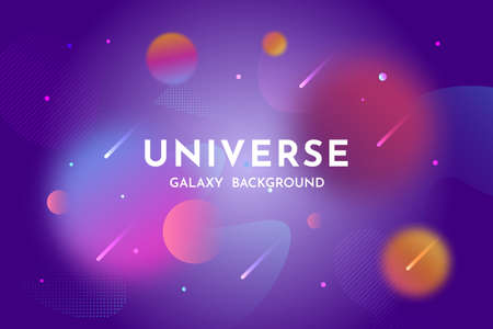 Outer space background. Universe, glowing galaxy abstract backdrop template with stardust, planets, nebula. Vector illustration for banner, brochures, posters.
