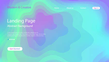 Website Landing Page Template. Modern Abstract Background Design. Vector wavy topographic illustration.  イラスト・ベクター素材