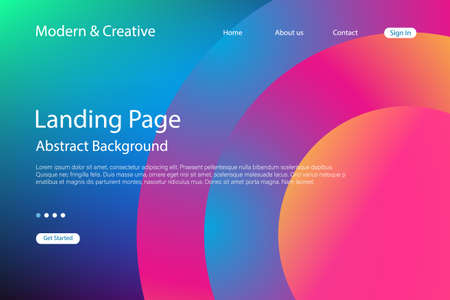Website Landing Page Template. Modern Abstract Background Design. Vector futuristic technology illustration.