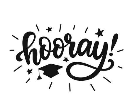 Hooray! Graduation class label, banner Фото со стока - 124855802