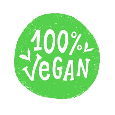 100 percent vegan vector badge sign Ilustração