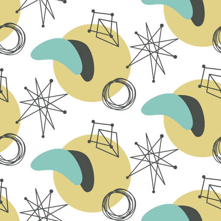 Mid century modern seamless pattern Ilustração Vetorial