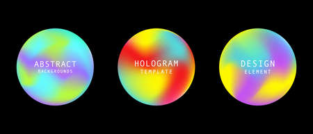 Holographic retro 80s, 90s vector futuristic round cover background elements set