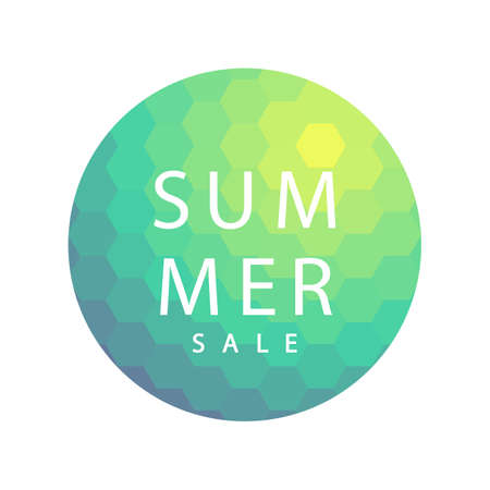 Summer sale banner template design. Abstract vector minimal geometric green trendy background.