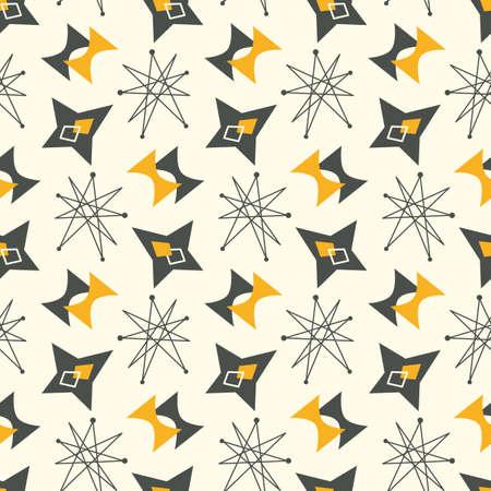Mid century modern seamless pattern. 1950s vintage style atomic science background, retro vector illustration. Foto de archivo - 125220561
