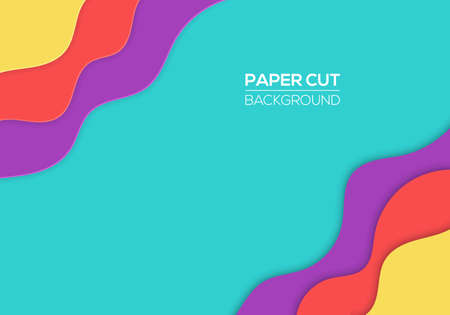 Modern paper cut cover template with cartoon colorful abstract waves splash
