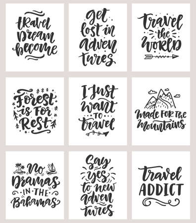Travel, adventures hand written lettering quotes icons badges set Иллюстрация