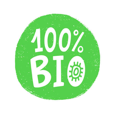100 percent bio vector badge sign