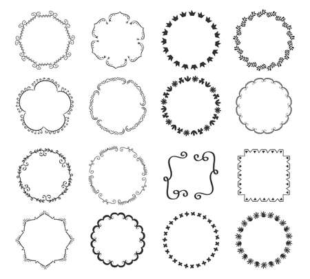 Big set of decorative hand drawn round frames Иллюстрация