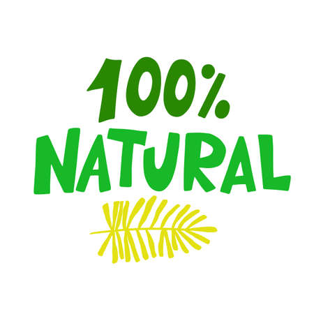 100 Percent Natural food green sign, organic vector stamp sticker Иллюстрация