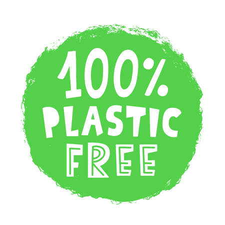 100 percent Plastic free sign stamp Иллюстрация