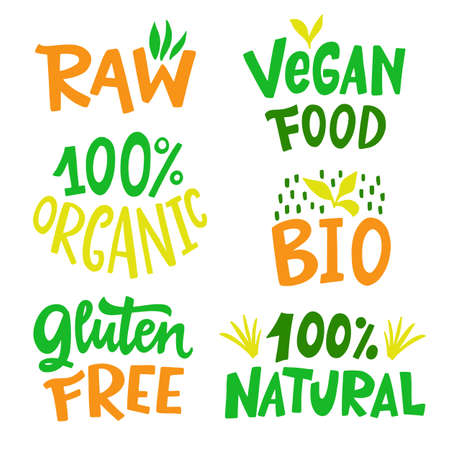 100 Percent Organic, Gluten free, Vegan, Bio, Eco, Natural food sign set