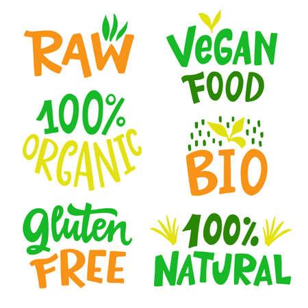 100 Percent Organic, Gluten free, Vegan, Bio, Eco, Natural food sign set