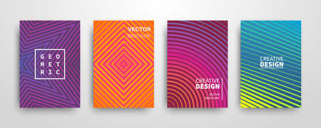 Modern futuristic abstract geometric covers set Иллюстрация