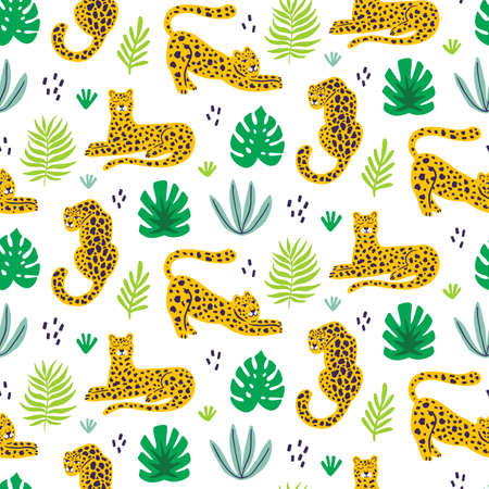 Vector leopard and tropical leaves jungle animal seamless pattern
