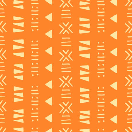 Tribal creative vector seamless pattern. Ethnic abstract geometric handmade african, aztec ornament for textile and surface design, package, wallpaper, web page backdrop, wrapping paper,  イラスト・ベクター素材