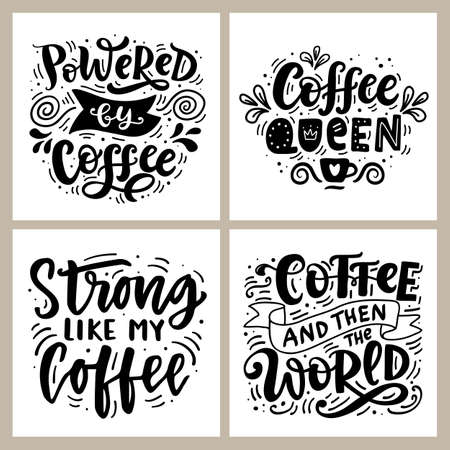 Coffee hand written lettering badges set