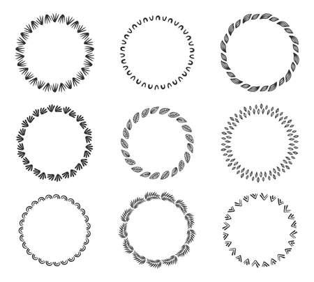 Set of decorative vintage hand drawn round frames