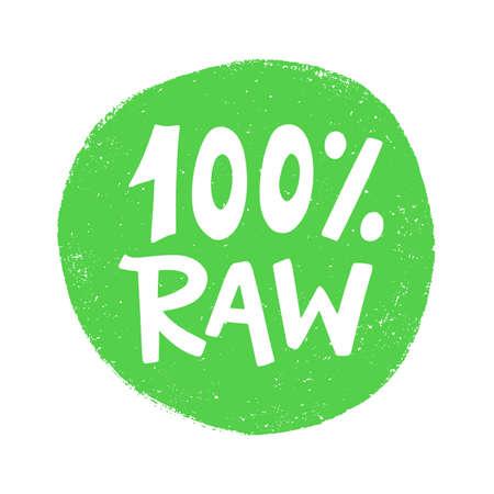 100 Percent Raw food green sign, vegan  stamp sticker