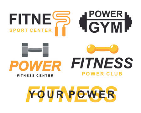 Fitness gym signs collection, bodybuilding club emblem templates icons set