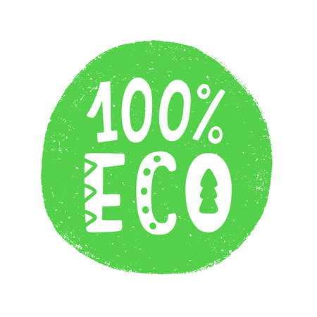 100 Percent Eco food green sign, natural organic  stamp sticker