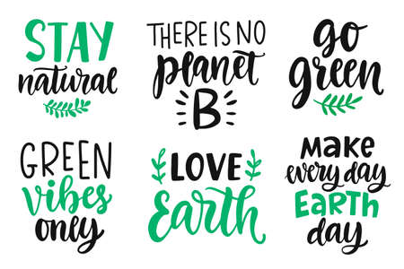 Earth day, Plastic Free, Recycle, Go Green, Save Energy concept quotes set Stok Fotoğraf - 131605464