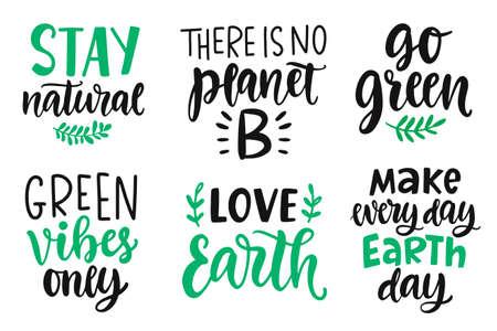 Tag der Erde, plastikfrei, recyceln, grün werden, Energie sparen Konzept Zitate gesetzt Vektorgrafik