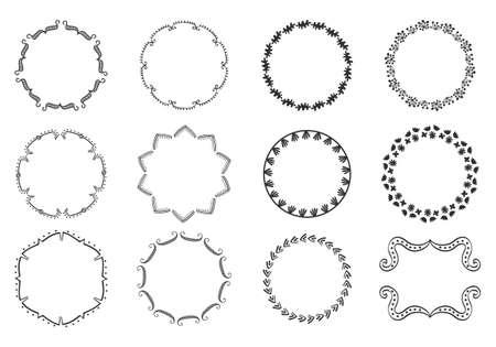 Big set of decorative hand drawn round frames Ilustrace