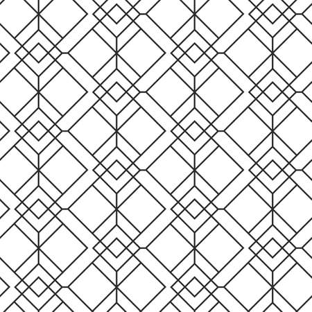 Vector geometric seamless pattern, black and white elegant minimal ornament, mono line grid, modern abstract linear simple vector background. Modern fashion, wallpaper texture.