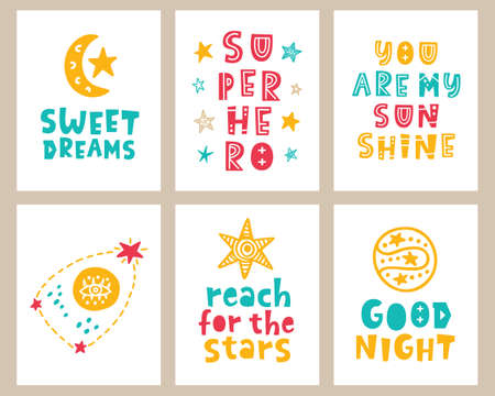 nursery kids posters set with hand drawn lettering phrases