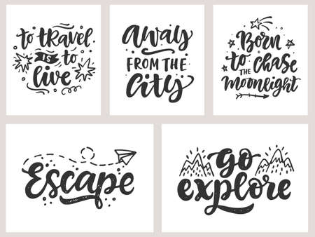 Travel, adventures hand written lettering quotes, t shirt design set