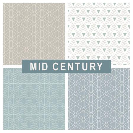 Mid century modern abstract geometric linear patterns set Ilustrace