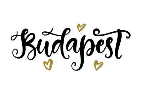 Budapest modern city hand written brush lettering