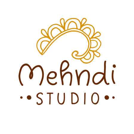 Henna mehndi drawing ethnic tattoo studio Ilustrace