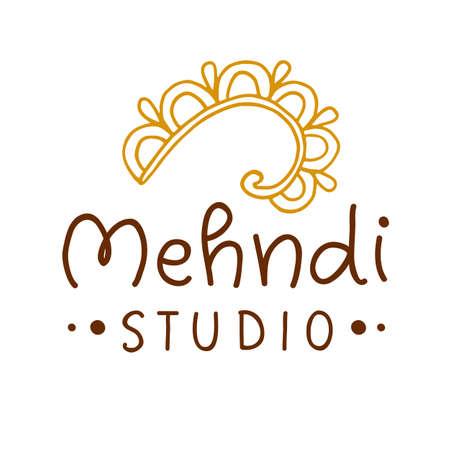 Henna mehndi drawing ethnic tattoo studio Illustration